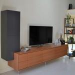Meuble tv contemporain. Poirier et laque. Conception et réalisation, Atelier de l'Ébène