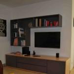 Meuble TV contemporain en latté Hêtre, vernis naturel et laqué. Conception et réalisation, Atelier de l'Ébène